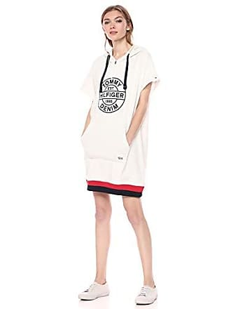 Tommy Hilfiger Tommy Hilfiger Womens Hoodie Sweatshirt Dress with Extended Collar Zipper, Snow Heather/Multi XS