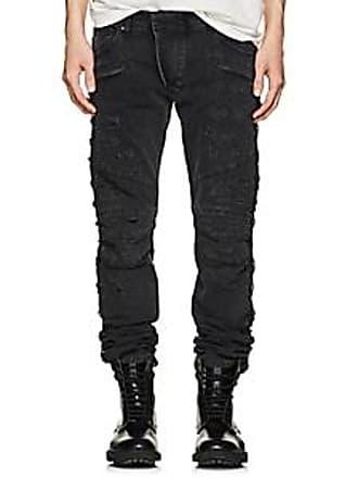 Balmain Mens Distressed Skinny Biker Jeans - Black Size 31
