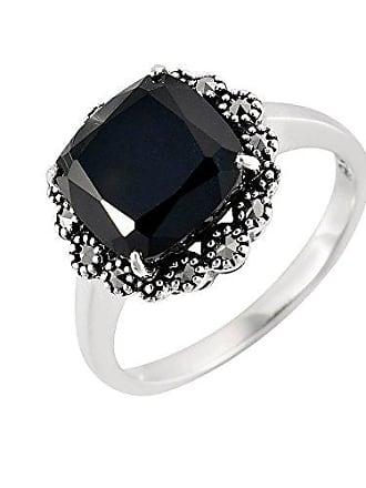 604b9437a8e109 Esse Marcasite femme Argent 925 1000 Argent  Silver Coussin Noir Spinell  Markasit FINERING
