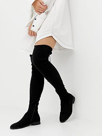 83c13f53a85 Asos Petite ASOS DESIGN Petite Kaska flat studded thigh high boots