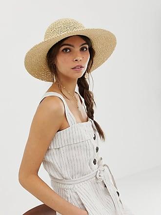 Asos Cappello floscio regolabile in paglia alluncinetto con falda corta -  Marrone d6c90727e48d