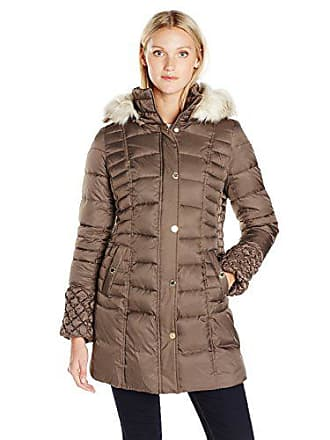 Betsey Johnson Womens 3/4 Puffer Coat with Popcorn Detailed Sleeve/Cinched Waist/Faux Fur Hood Strip, Taupe, M