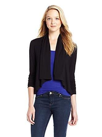 Karen Kane Womens Shirred 3/4 Sleeve Drape Jacket, Black, Medium