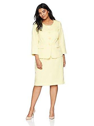Le Suit Womens Size Plus Jacquard 4 Bttn Collarless Skirt Suit, Sunshine, 18W