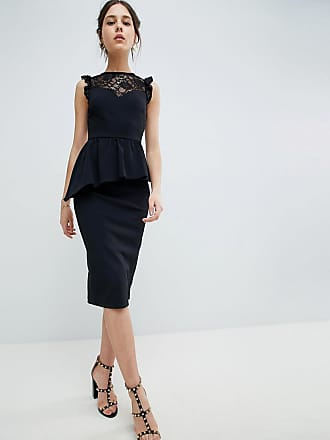 Asos lace mix pencil dress with high neck - Black e311aa236
