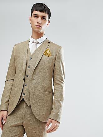 Noak TALL - Spräcklig kostymjacka med extra smal passform - Sandfärgad 40afd46fec983