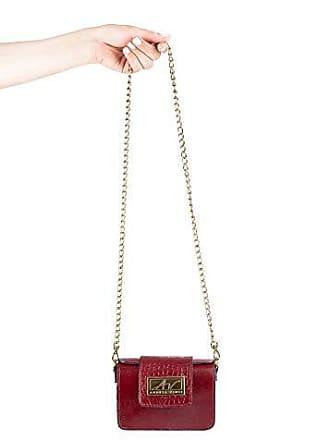 Andrea Vinci Mini bolsa de festa em couro legítimo vermelha + alça de metal