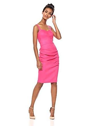 Nicole Miller Womens Solid Stretch Linen Tuck Dress Honeysuckle 2