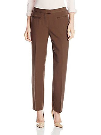 Ruby Rd. Womens Petite Flat Front Easy Stretch Pant, Dark Taupe, 6