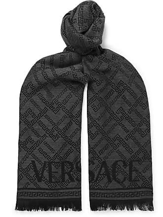 2f62aa8f71a Versace Fringed Logo-intarsia Wool Scarf - Black