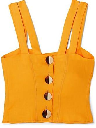 2c492966a2ec Nicholas Cropped Button-embellished Linen Top - Orange