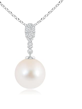 Angara Valentine Day Sale - Freshwater Cultured Pearl Pendant with Diamond Studded Bale