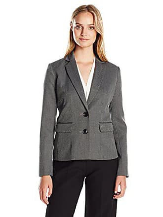 Ellen Tracy Womens 2-Button Jacket, Grey Heather Twill, 2