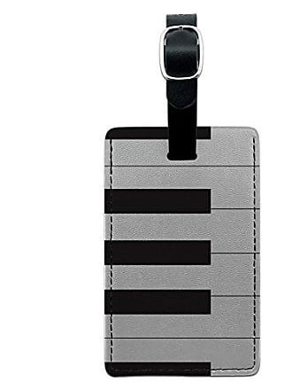 Graphics & More Graphics & More Piano Keys-Music Leather Luggage Id Tag Suitcase Carry-on, Black