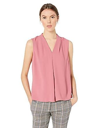 72fe642d157b Nine West Womens Sleeveless Inverted Pleat Neck Light Weight Crepe Blouse,  Rosewater, XL