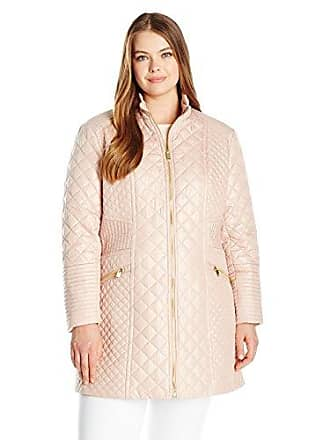 Via Spiga Womens Plus-Size Diamond Stand Collar Quilt Jacket, Blush, 1X