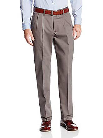 Lee Lee Mens No Iron Relaxed Fit Pleated Pant, Granite, 29W x 30L