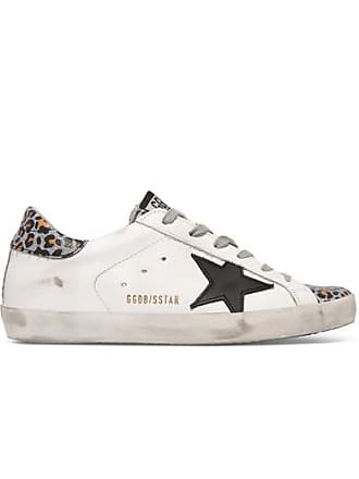 9b8116dc482d Golden Goose Superstar Distressed Glittered Leopard-print Leather Sneakers  - White