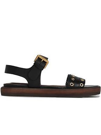 See By Chloé See By Chloé Woman Eyelet-embellished Leather Sandals Black Size 35