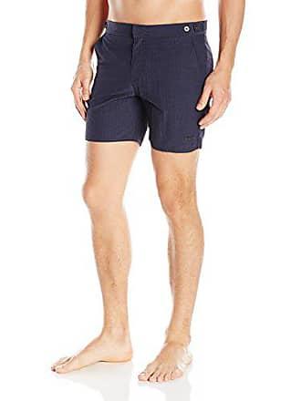 674dd01ca1 Parke & Ronen Mens Catalonia Gingham Check 6-Inch Swim Short, Indigo Micro,