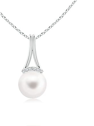 Angara Valentine Day Sale - Freshwater Cultured Pearl Long Inverted V-Bale Pendant
