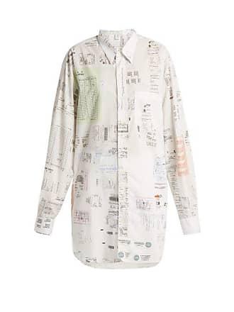VETEMENTS Oversized Receipt Print Cotton Shirt - Womens - White Multi