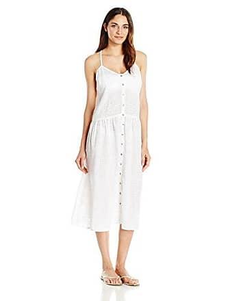 Mara Hoffman Womens White Checkered Gauze Drop Waist Placket Midi Dress Cover, Medium