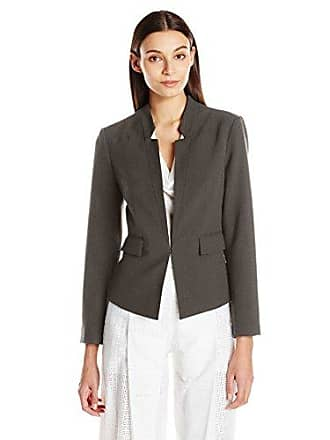 Ellen Tracy Womens Inverted Rever Jacket, Charcoal, 12