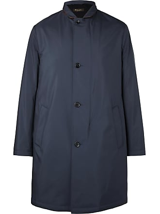 Loro Piana Sebring Windmate Storm System Suede-trimmed Shell Coat - Navy