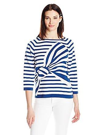 Joan Vass Womens Intarsia Stripe Bow Sweater, Azure/White M