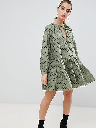Asos Petite ASOS DESIGN Petite tiered trapeze mini dress in broderie - Green