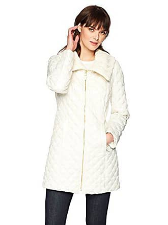 Via Spiga Womens Lightweight Quilted Jacket with Knit Collar, Ivory, Medium