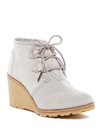 ec74bfc2f77 Toms Womens Desert Wedge Drizzle Grey Suede Faux Crepe Wedge Boot 6 B (M