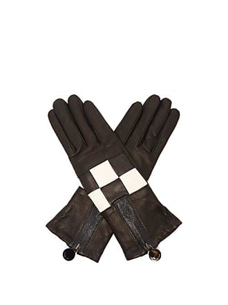 Agnelle Argi Leather Checkerboard Gloves - Womens - Black