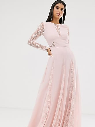 Asos Tall ASOS DESIGN Tall maxi dress with long sleeve and lace panelled bodice-Pink