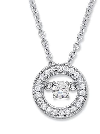 PalmBeach Jewelry 20 TCW CZ in Motion Birthstone and CZ Halo Pendant Necklace in Sterling Silver 18 - April- Simulated Diamond