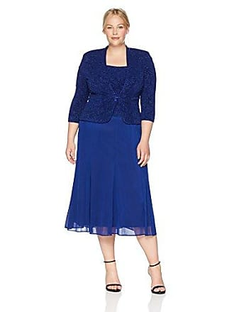 Alex Evenings Womens Plus-Size Jacquard Jacket Dress with Mesh Skirt, Electric Blue, 14