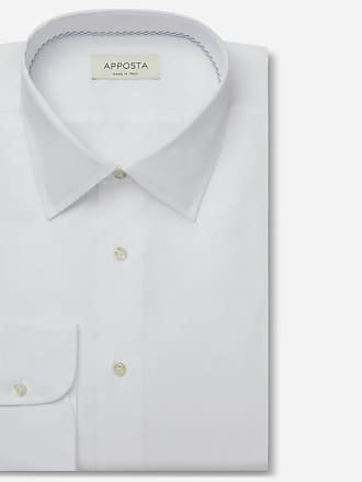 Apposta Shirt solid white 100% pure cotton mock leno double twisted, collar style low straight point collar