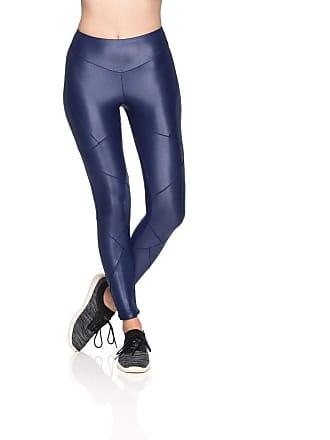 Mulher Elástica Leggings Fitness Cristal Cirrê - Azul - G
