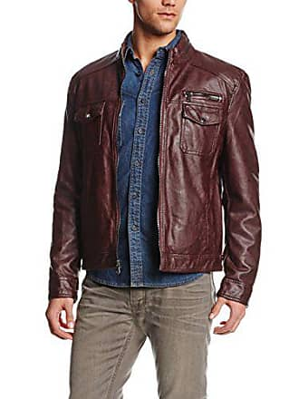 Kenneth Cole Reaction Mens Faux-Leather Moto Jacket, Burgundy, Medium