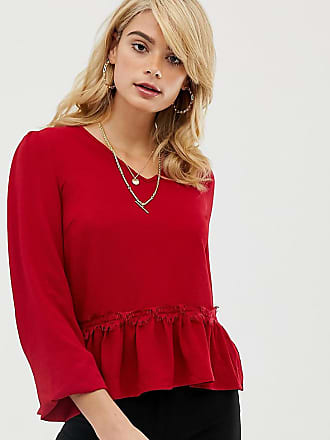 Y.A.S. Tall Lumine frill hem blouse-Red