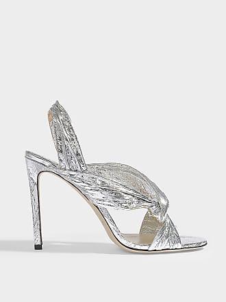 5336315e75a Jimmy Choo London Lalia 100 Sandals in Silver Metallic Foil Leather