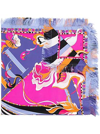 Emilio Pucci Logo Print Silk Fringe Square Scarf - Pink