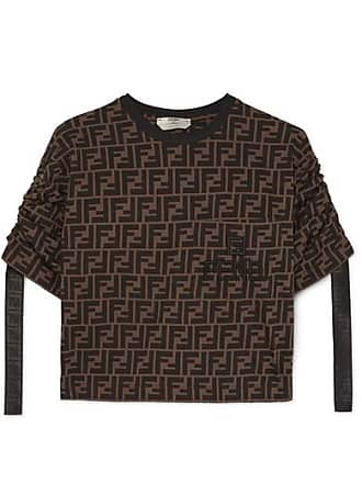51005f348d Fendi Cropped Printed Cotton-jersey T-shirt - Brown