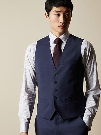 Ted Baker Debonair Checked Wool Waistcoat in Blue CABOTW, Mens Clothing