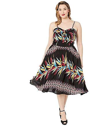 5fe356aace0 Unique Vintage Plus Size Kamehameha Bird Of Paradise Hawaiian Print Lelani Swing  Dress (Black