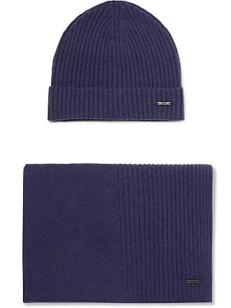 HUGO BOSS Ribbed Cashmere Beanie And Scarf Set - Navy