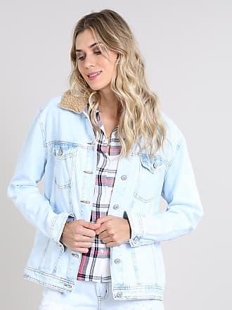 facd1a222c C&A Jaqueta Jeans Feminina com Pelo Removível Azul Claro