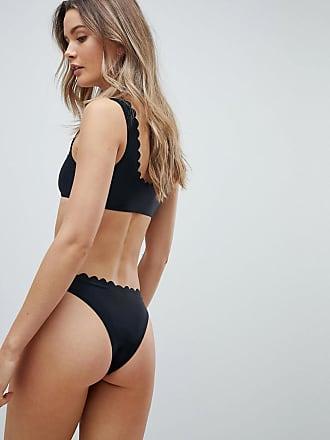 3a33baab8afcb South Beach Exclusive mix and match scallop edge crop bikini top in black -  Black