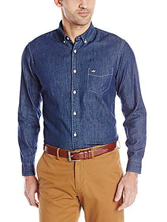 Dockers Mens Chambray Long Sleeve Button-Down Shirt, Darkest Indigo, Large